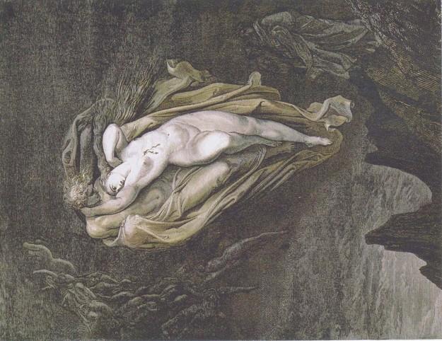 GUSTAVE DORE', Paolo and Francesca da Rimini, XIX sec.